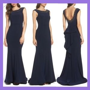1bb7037cf636 NWT XSCAPE Beaded Ruffle Jersey Trumpet Gown 8 8P